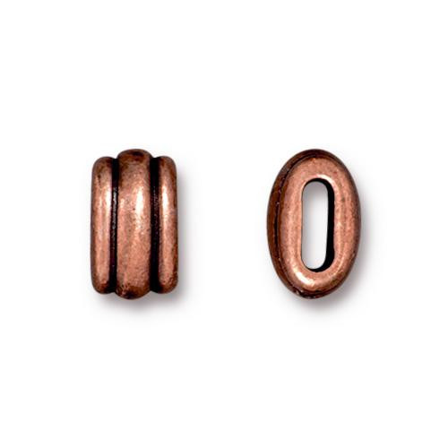 Deco 6x2mm Barrel Bead, Antiqued Copper Plate, 20 per Pack