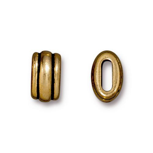 Deco 6x2mm Barrel Bead, Antiqued Gold Plate, 20 per Pack
