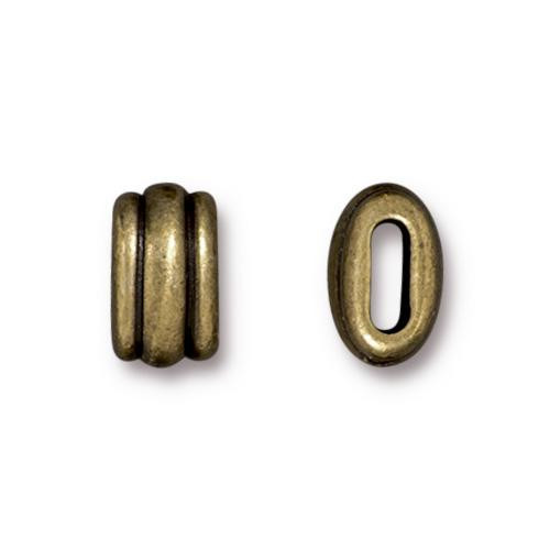 Deco 6x2mm Barrel Bead, Oxidized Brass Plate, 20 per Pack