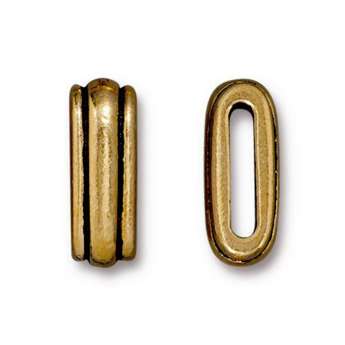 Clearance: Deco 12x2mm Slide Bead, Antiqued Gold Plate, 20 per Pack