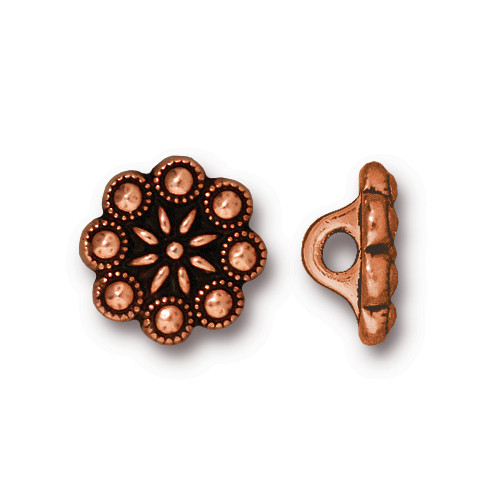 Czech Rosette Button, Antiqued Copper Plate, 20 per Pack