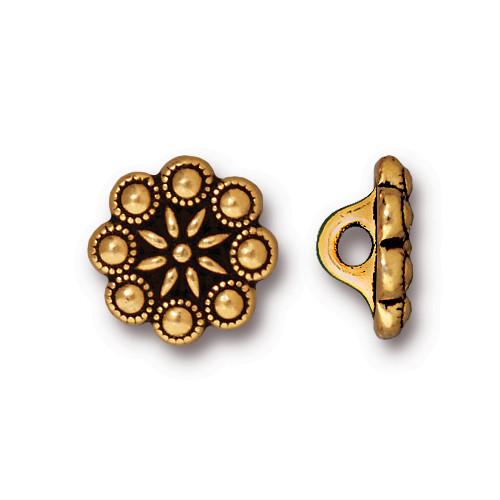 Czech Rosette Button, Antiqued Gold Plate, 20 per Pack
