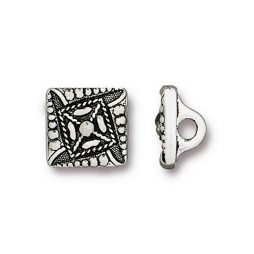 Czech Square Button, Antiqued Silver Plate, 20 per Pack