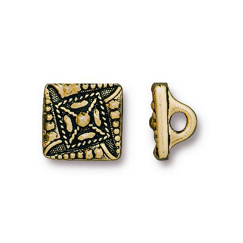 Czech Square Button, Antiqued Gold Plate, 20 per Pack