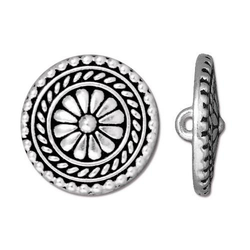 Large Bali Button, Antiqued Silver Plate, 20 per Pack