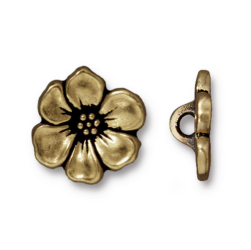 Apple Blossom Button, Oxidized Brass Plate, 20 per Pack