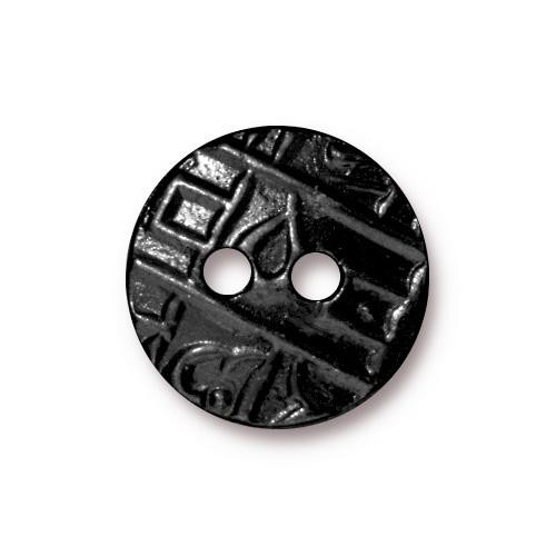 Round Coin Button, Black Plate, 20 per Pack