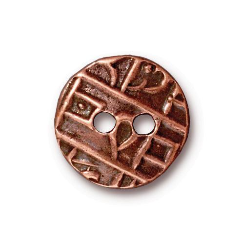 Round Coin Button, Antiqued Copper Plate, 20 per Pack
