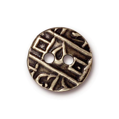 Round Coin Button, Oxidized Brass Plate, 20 per Pack
