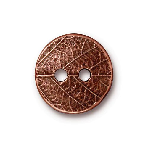 Round Leaf Button, Antiqued Copper Plate, 20 per Pack