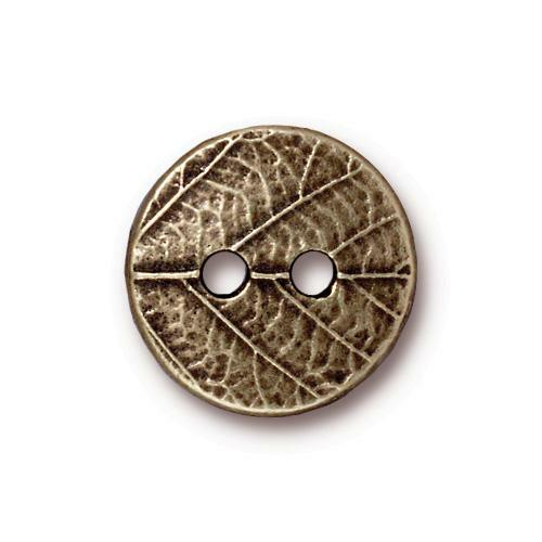 Round Leaf Button, Oxidized Brass Plate, 20 per Pack