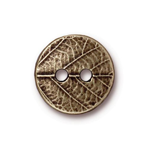 Round Leaf Button, Oxidized Brass Plate, 20 per Pack