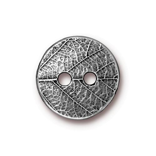 Round Leaf Button, Antiqued Pewter, 20 per Pack