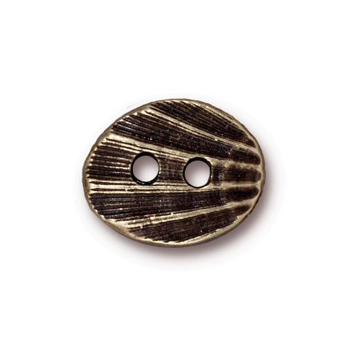 Oval Shell Button, Oxidized Brass Plate, 20 per Pack