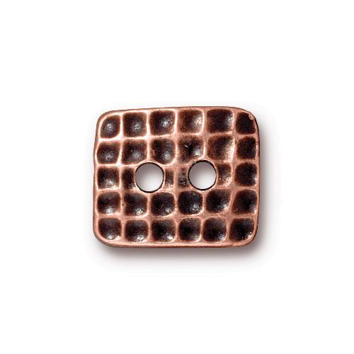 Hammertone Rectangle Button, Antiqued Copper Plate, 20 per Pack