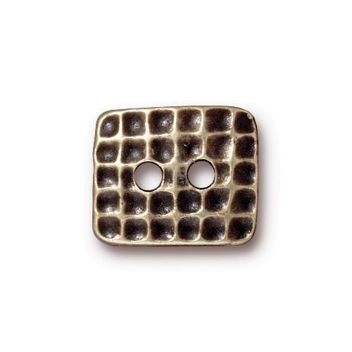 Hammertone Rectangle Button, Oxidized Brass Plate, 20 per Pack