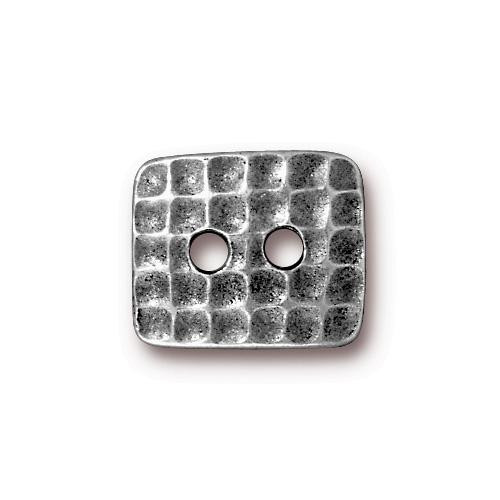 Hammertone Rectangle Button, Antiqued Pewter, 20 per Pack