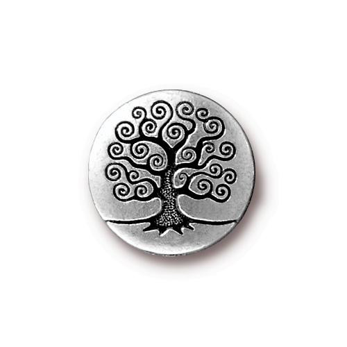 Tree of Life Button, Antiqued Silver Plate, 20 per Pack