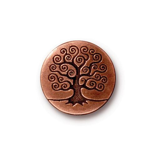 Tree of Life Button, Antiqued Copper Plate, 20 per Pack