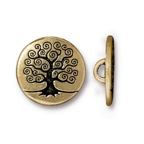 Tree of Life Button, Antiqued Gold Plate, 20 per Pack