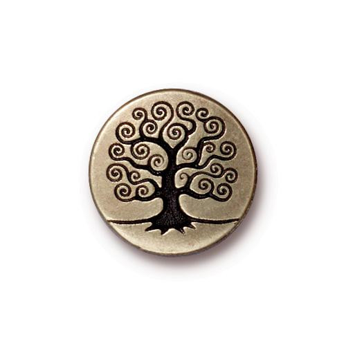 Tree of Life Button, Oxidized Brass Plate, 20 per Pack