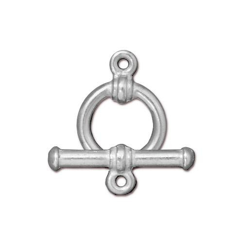 Bar & Ring Clasp Set, Silver Plate, 10 per Pack