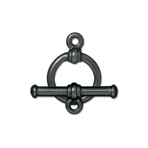 Bar & Ring Clasp Set, Black Plate, 10 per Pack