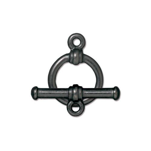 Bar & Ring Clasp Set, Black Plate, 10 per Pack