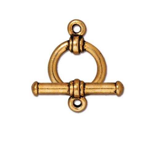Bar & Ring Clasp Set, Antiqued Gold Plate, 10 per Pack