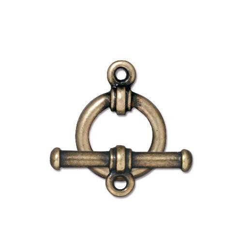 Bar & Ring Clasp Set, Oxidized Brass Plate, 10 per Pack