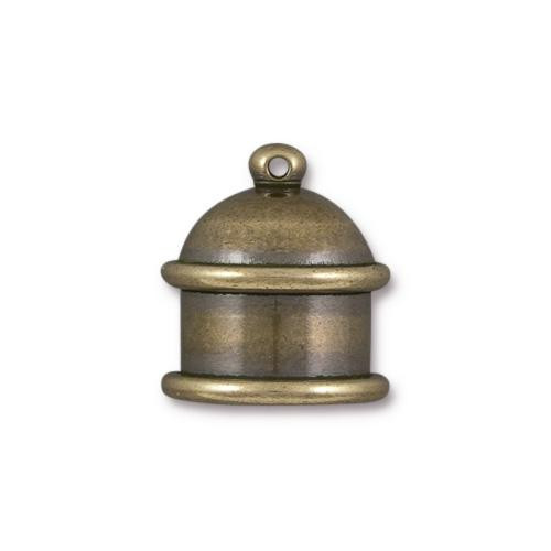 Pagoda 10mm Cord End, Oxidized Brass, 10 per Pack