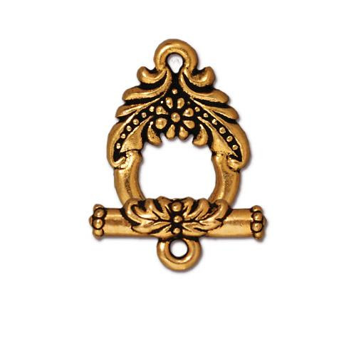 Garland Clasp Set, Antiqued Gold Plate, 10 per Pack
