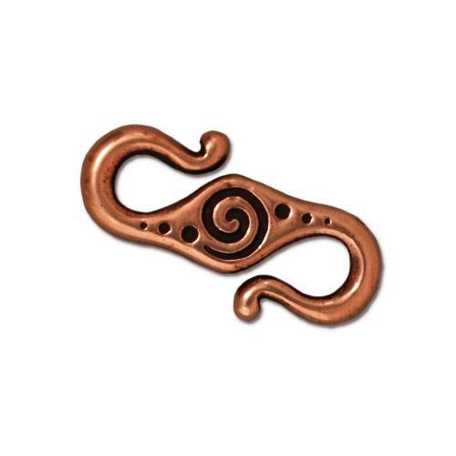 Spiral S Hook, Antiqued Copper Plate, 20 per Pack
