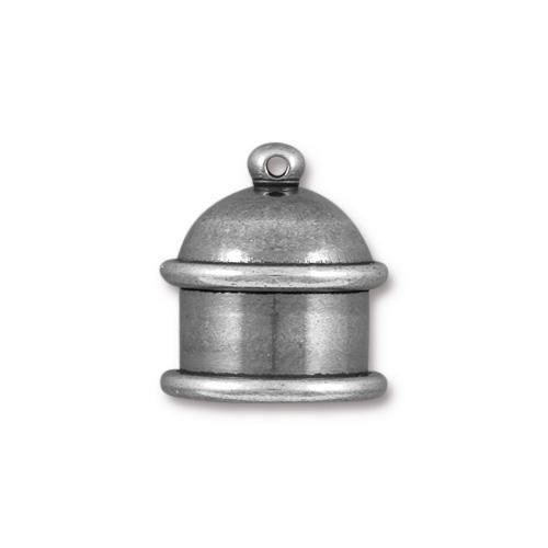 Pagoda 10mm Cord End, Oxidized Tin Plate, 10 per Pack