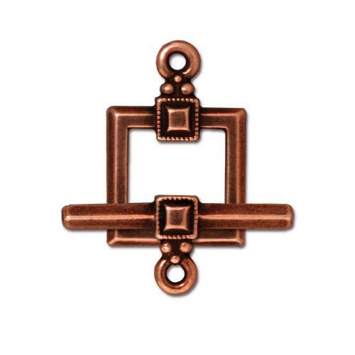 Deco Square Clasp Set, Antiqued Copper Plate, 10 per Pack