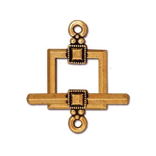 Deco Square Clasp Set, Antiqued Gold Plate, 10 per Pack