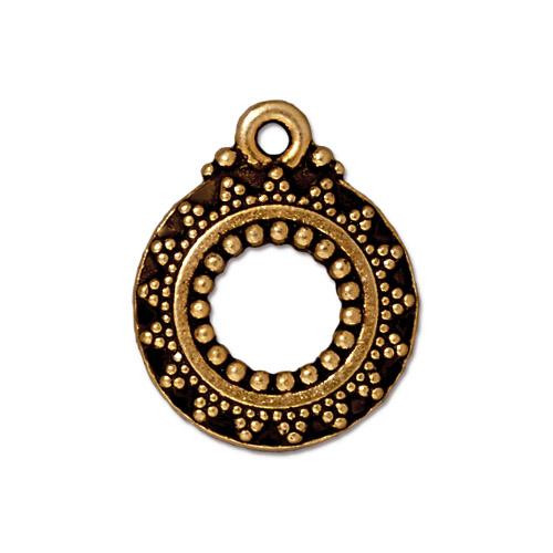 Bali Clasp Ring, Antiqued Gold Plate, 20 per Pack