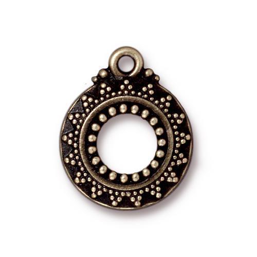 Bali Clasp Ring, Oxidized Brass Plate, 20 per Pack