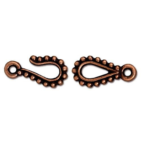 Beaded Hook & Eye Clasp Set, Antiqued Copper Plate, 10 per Pack