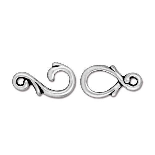 Vine Hook & Eye Clasp Set, Antiqued Silver Plate, 10 per Pack