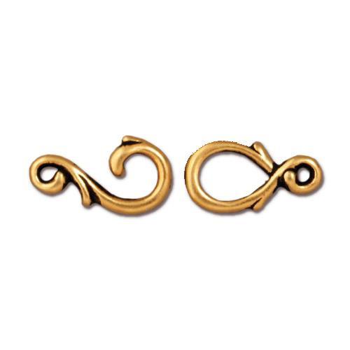 Vine Hook & Eye Clasp Set, Antiqued Gold Plate, 10 per Pack