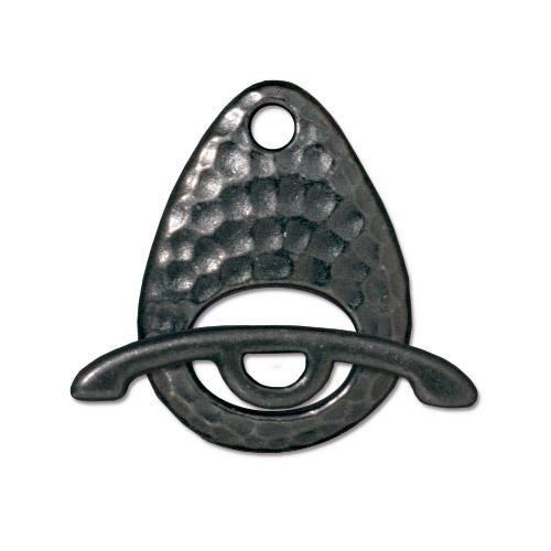 Hammertone Ellipse Clasp Set, Black Plate, 10 per Pack