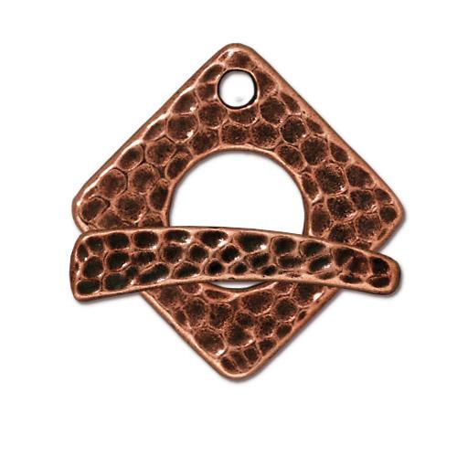 Hammertone Square Clasp Set, Antiqued Copper Plate, 10 per Pack