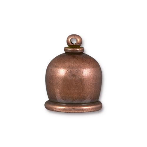 Taj 10mm Cord End, Antiqued Copper Plate, 10 per Pack