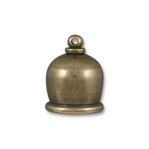 Taj 10mm Cord End, Oxidized Brass, 10 per Pack