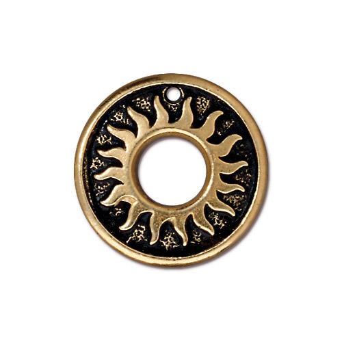 Del Sol Ring, Antiqued Gold Plate, 20 per Pack