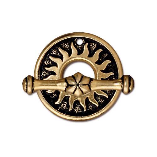 Del Sol Clasp Set, Antiqued Gold Plate, 10 per Pack