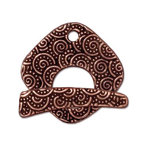 Large Spiral Clasp Set, Antiqued Copper Plate, 10 per Pack