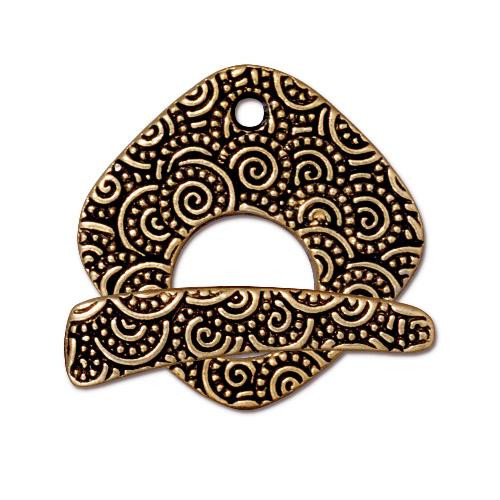 Large Spiral Clasp Set, Antiqued Gold Plate, 10 per Pack