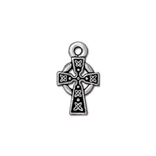 Celtic Cross Charm, Antiqued Silver Plate, 20 per Pack